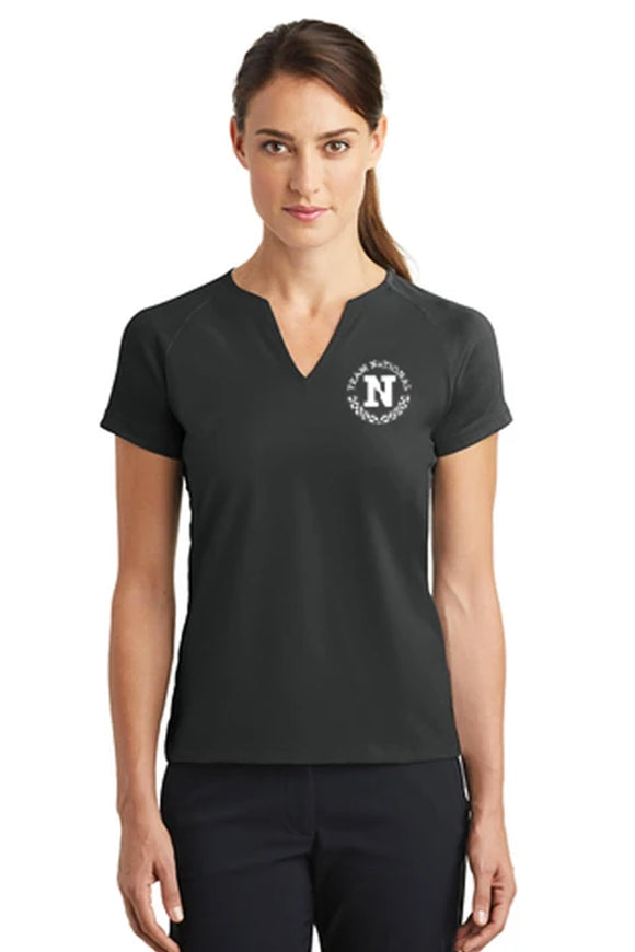 Nike Ladies Dri Fit Stretch V Neck - Black