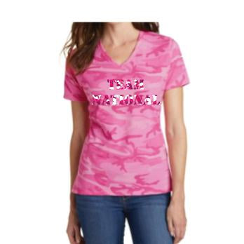 Port&Company Ladies Core Cotton Camo V-Neck Tee - Pink