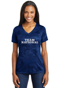 Sport-Tek® Ladies CamoHex V-Neck Tee - True Royal