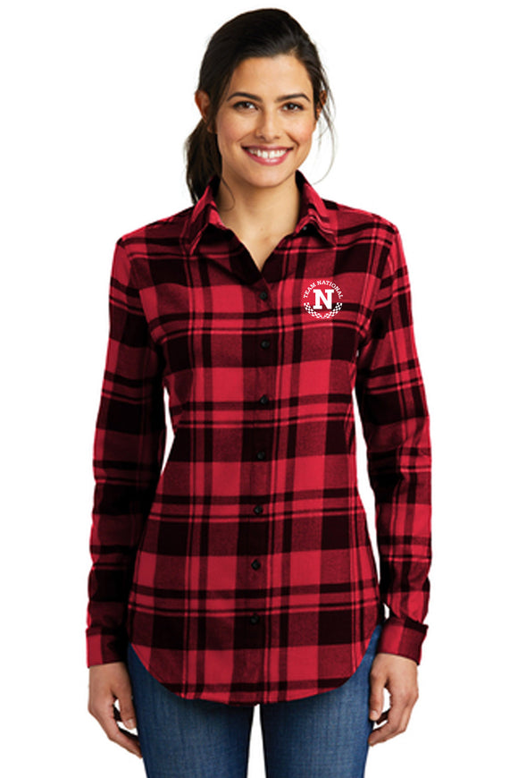 Port Authority® Ladies Plaid Flannel Tunic - Red