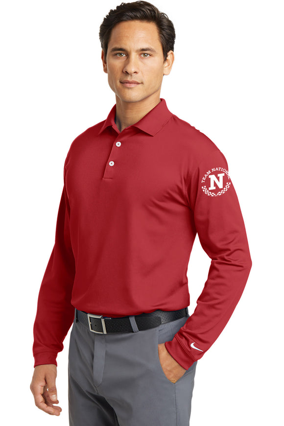 Nike Golf Long Sleeve Dri-Fit Stretch Tech Polo - Red