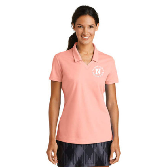 Nike Ladies Dri Fit Micro Pique Polo - Aluminum Pink