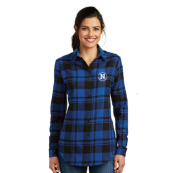 Port Authority® Ladies Plaid Flannel Tunic - Blue