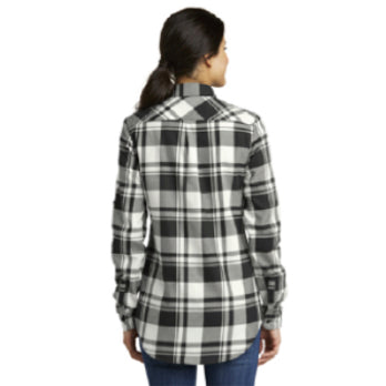 Port Authority® Ladies Plaid Flannel Tunic - White & Grey