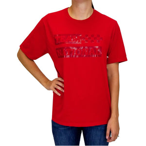 Ladies Red Gloss Letters Shirt