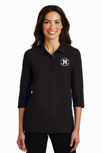 Port Authority Ladies Silk Touch 3/4 Sleeve Polo - Black