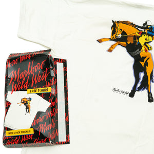 VINTAGE MARLBORO WILD WEST COWBOY T-SHIRT (New Old Stock, Men's XL)