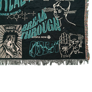 MDMA THERAPY WOVEN BLANKET (Black, Teal, Powder Pink)