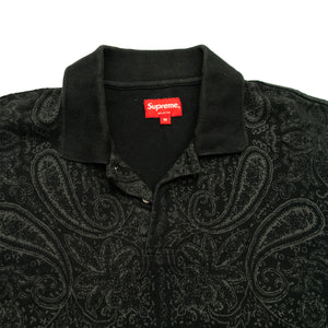 SUPREME BLACK PAISLEY POLO SHIRT (Men's Medium)