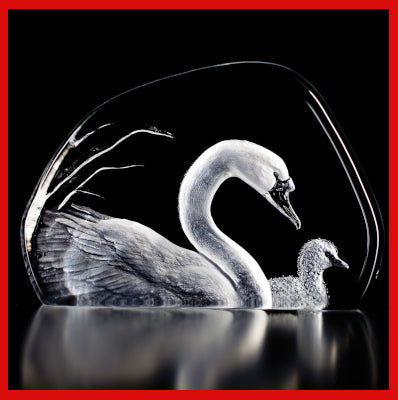 Gifts Actually -Mats Jonasson Crystal - Swans (33314).