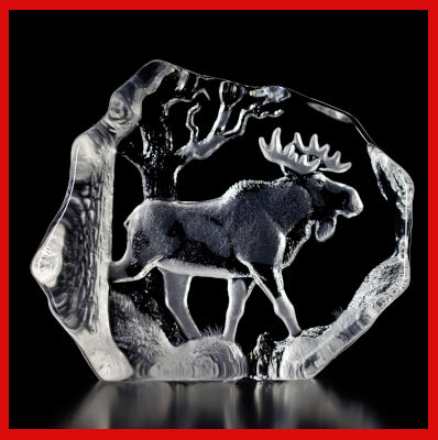 Gifts Actually - Mats Jonasson Crystal Moose Bull (33566).
