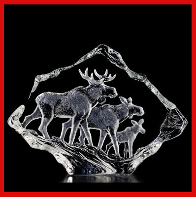 Gifts Actually - Mats Jonasson Crystal - The Moose Family  (33636).