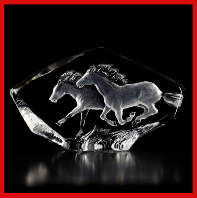 Gifts Actually - Mats Jonasson Crystal - Horses Galloping  (33716).