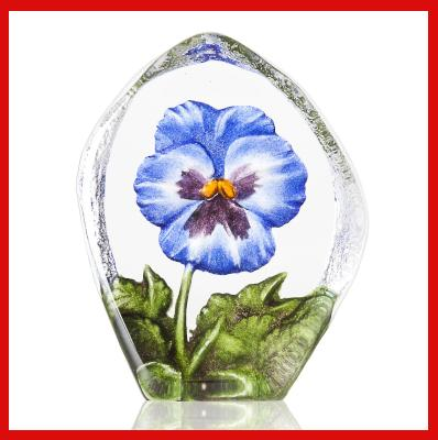 Gifts Actually - Mats Jonasson Crystal - Floral Fantasy - Pansy (Blue) (34216)