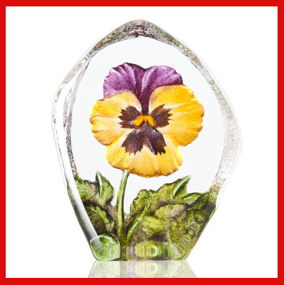 Gifts Actually- Mats Jonasson Crystal - Floral Fantasy - Pansy (Yellow) (34217)