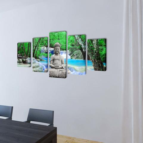 Wall Canvas 5-Panel Set -  Buddha - On a wall
