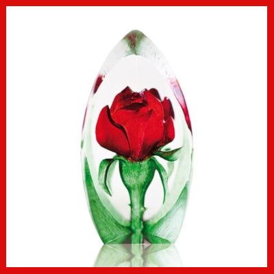 Gifts Actually - Mats Jonasson Crystal - Floral Fantasy Red Rose (88150)
