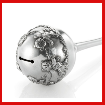Gifts Actually - Baby Rattle in Wooden box - Royal Selangor Pewter