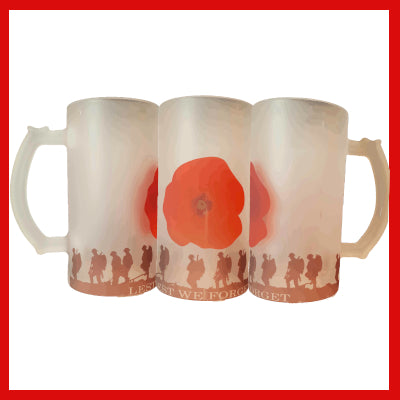 Gifts Actually - Beer Mug - Frosted Glass - Anzac - Lest We Forget