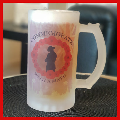 Beer Mug - Frosted Glass - Anzac - Lest We Forget - Wreath 02