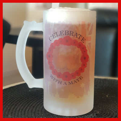 Gifts Actually - Beer Mug - Frosted Glass - Anzac - Lest We Forget - Wreath 01