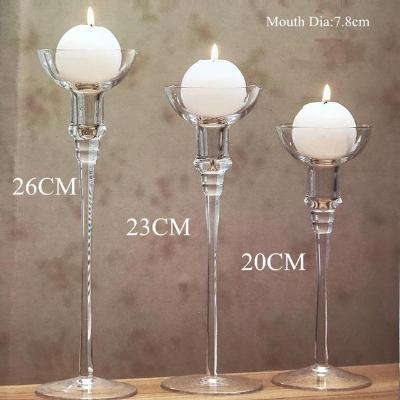 Gifts Actually - Handmade Glass Bulb Glass Stem Candle Holders - Set of 3