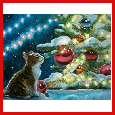 Gifts Actually - Paint By Numbers - (DIY Paint kit) - Cat and Christmas tree