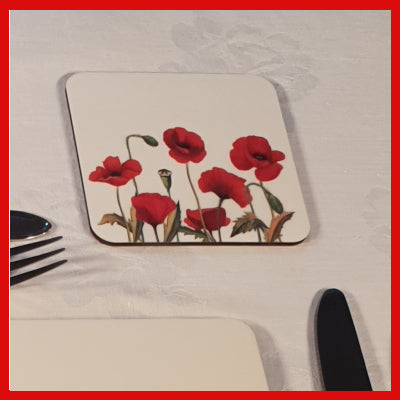 Gifts Actually - Coaster - Floral Collection - Poppy design