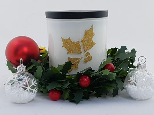 Amber Grove - Soy Wax Candle - Christmas - Holly Design