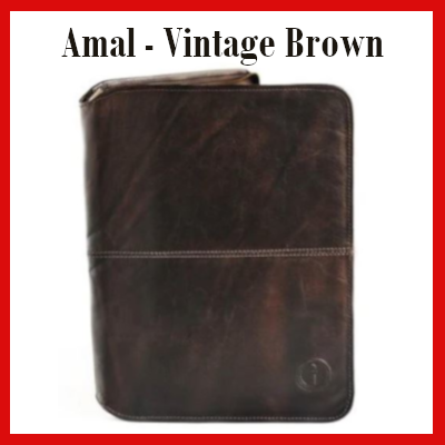 Gifts Actually - Indepal- Amal Leather Business Compendium - Vintage Brown