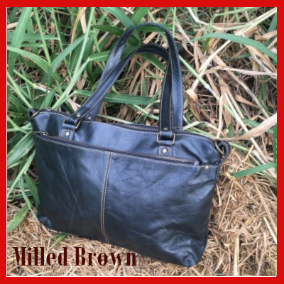 Gifts Actually - Indepal- Malala Leather Handbag - Milled Brown