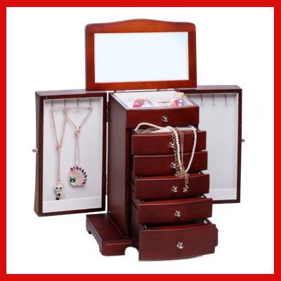 Gifts Actually - Large Wooden Jewellery Box / Organiser (Brown) - Main View