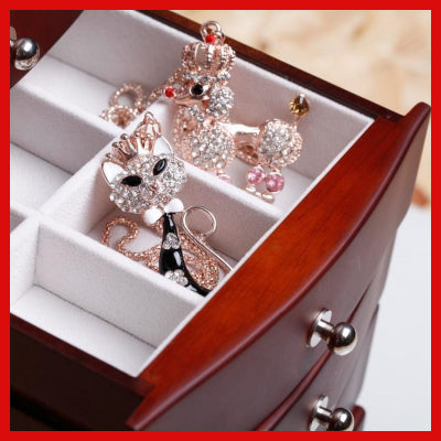 Gifts Actually - Large Wooden Jewellery Box / Organiser (Brown) - Drawer open 01