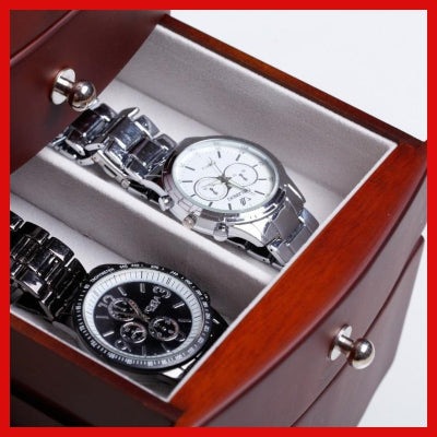 Gifts Actually - Large Wooden Jewellery Box / Organiser (Brown) - Drawer open 4