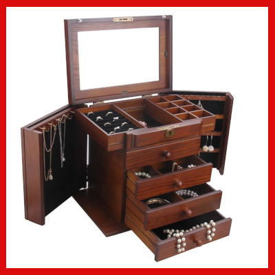 Gifts Actually - Large Wooden Rowlan Jewellery Box (lock & Key)