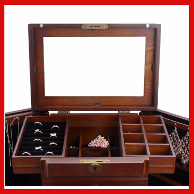 Gifts Actually - Large Wooden Rowlan Jewellery Box (lock & Key) - Top sliding drawers