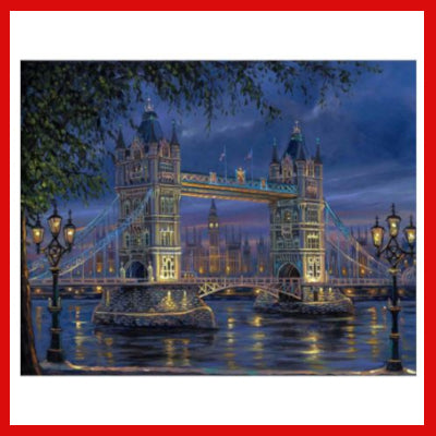 Gifts Actually - Paint By Numbers - London Bridge at Night (DIY Paint kit)