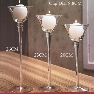 Gifts Actually - Handmade Glass Martini Glass Candle Holders - Set of 3