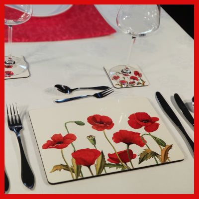 Gifts Actually - Placemat/Coaster - Floral Collection - Poppy design
