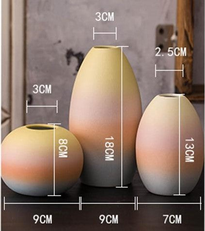 Gifts Actually - Vases - Euro Style - Rainbow coloured Ceramic vases - Dimensions