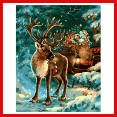 Gifts Actually - Paint By Numbers - (DIY Paint kit) - Reindeer and Sleigh