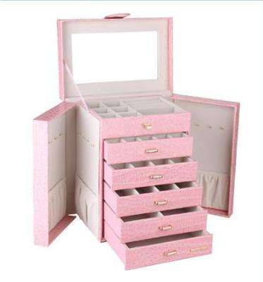 Gifts Actually - Large Rowland Leather Jewellery Box - Pink