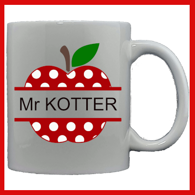 Gifts Actually - Teacher Mug - Polka Dot apple (Personalised)