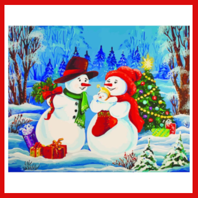 Gifts Actually - Paint By Numbers - (DIY Paint kit) - Snowman Family