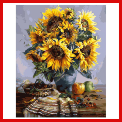 Gifts Actually - Paint By Numbers - (DIY Paint kit) - Sunflowers (In a Blue Vase)