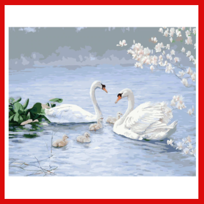 Gifts Actually - Paint By Numbers (DIY Paint kit) - Swans
