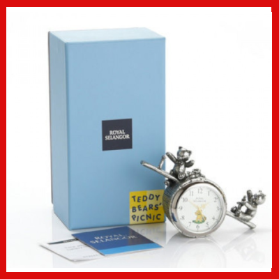 Gifts Actually - Royal Selangor Pewter- Teddy Bears Picnic Table Clock - With box