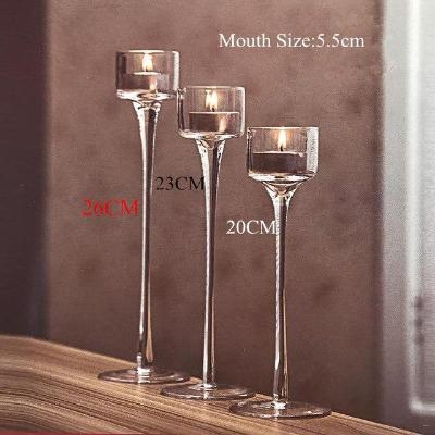 Gifts Actually - Handmade Glass Tea Light Glass Stem Candle Holders - Set of 3
