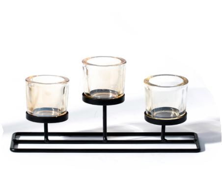 Candle Holder - Glass (Tea light / Votive) - Simple Nordic Design - Trio stem