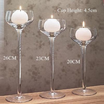 Gifts Actually - Handmade Wine Glass, Glass Stem Candle Holders - Set of 3